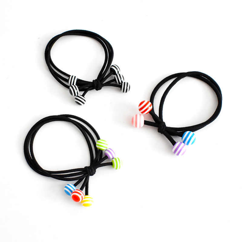 Three in one color bead hair ring, girl hair ornament does not hurt hair, high elastic band
