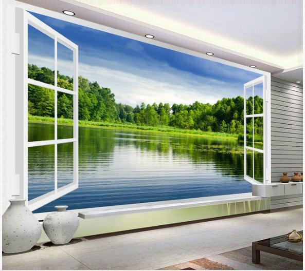 aliexpress.com : acquista carta da parati lago paesaggio fuori ... - Carta Da Parati Paesaggi Naturali