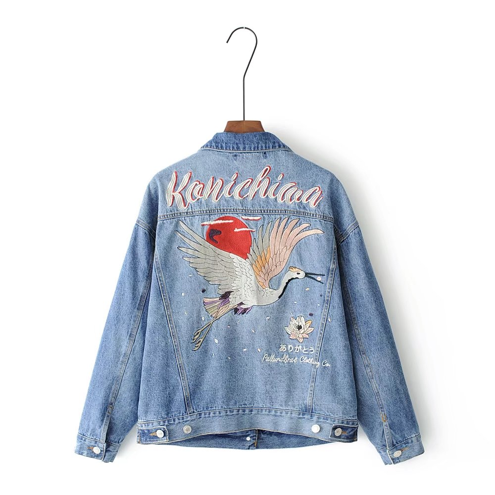 2019 denim   jacket   coat Women spring autumn embroidery casual jeans outerwear coat female winter   basic     jackets