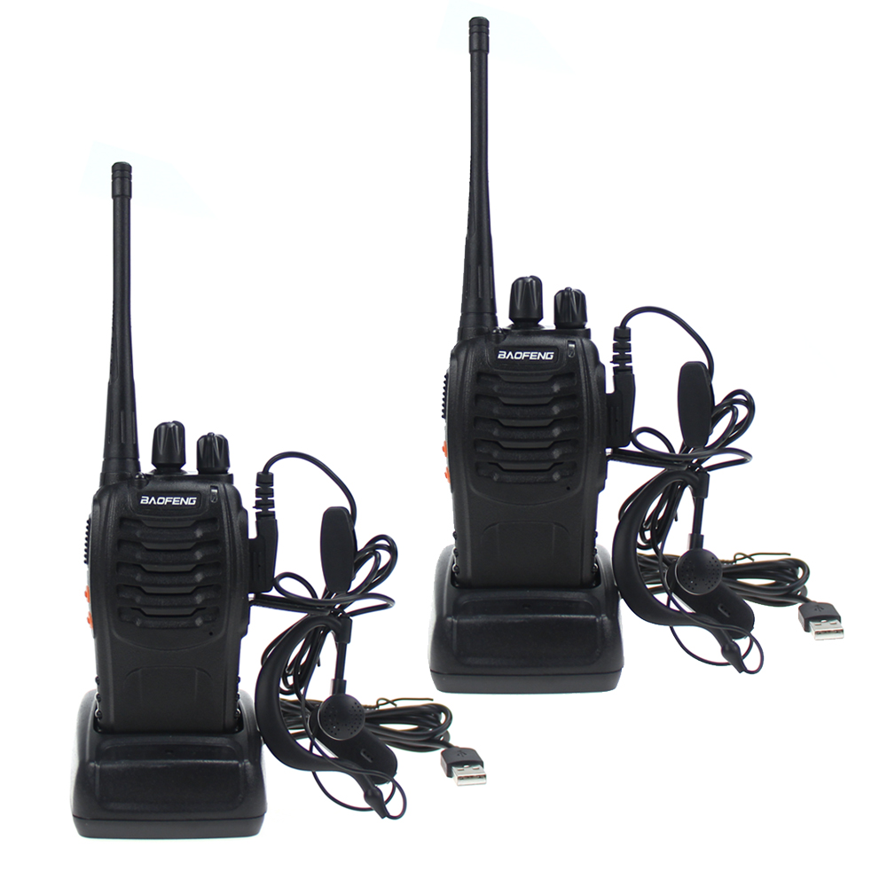 BaoFeng BF-888S Two Way Radio With Earpiece Long Range Rechargeable Walkie Talkie Built In LED Flashlight / USB Charger  (Pair)