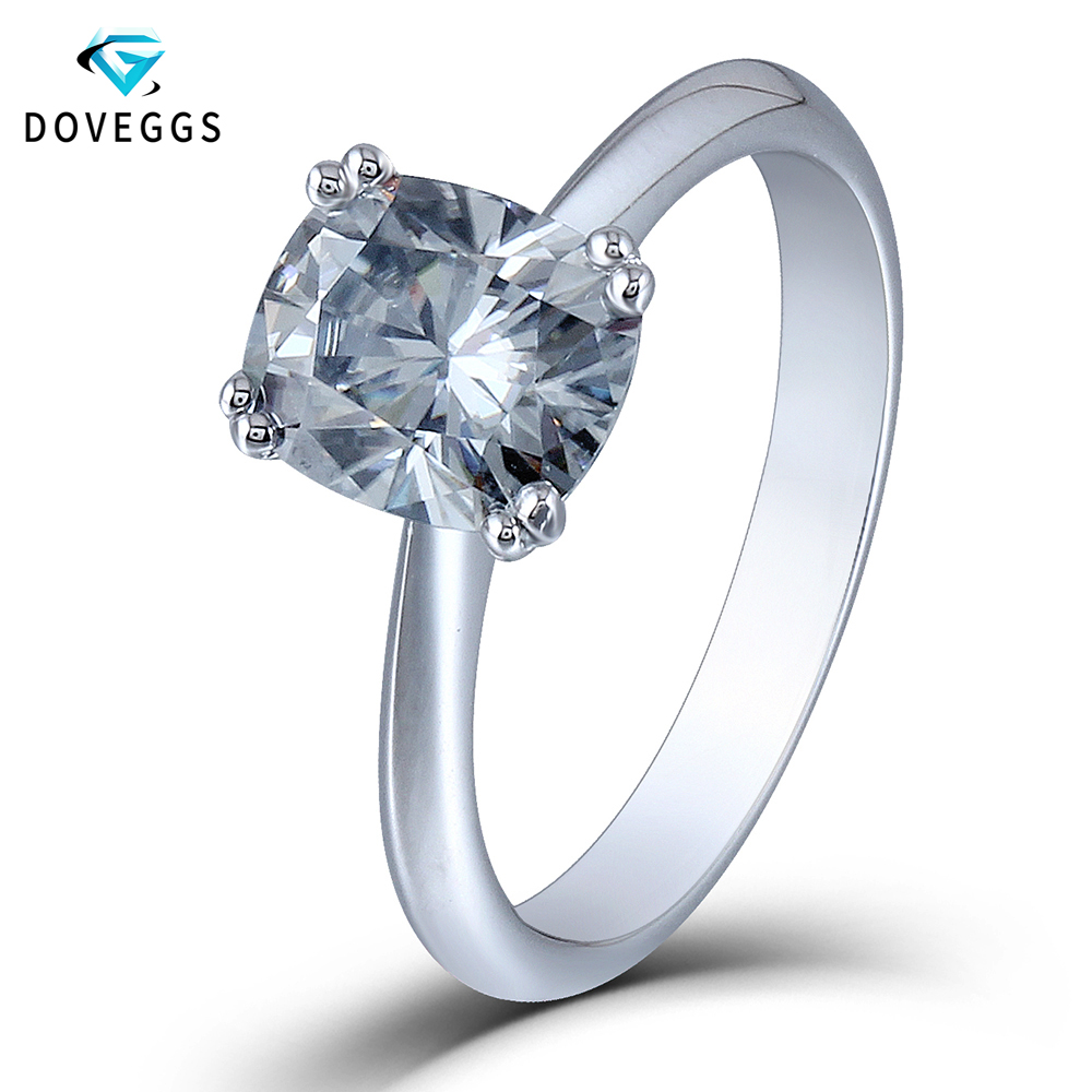 DovEggs Moissanite Daimond Engagement Rings For Women 2ct 7*8mm Cushion Cut 8 Prongs Platinum Plated Silver Solitaire Ring transgems 2ct 7x8mm cushion cut slight grey lab grown moissanite 2 6mm width engagement rings platinum plated silver