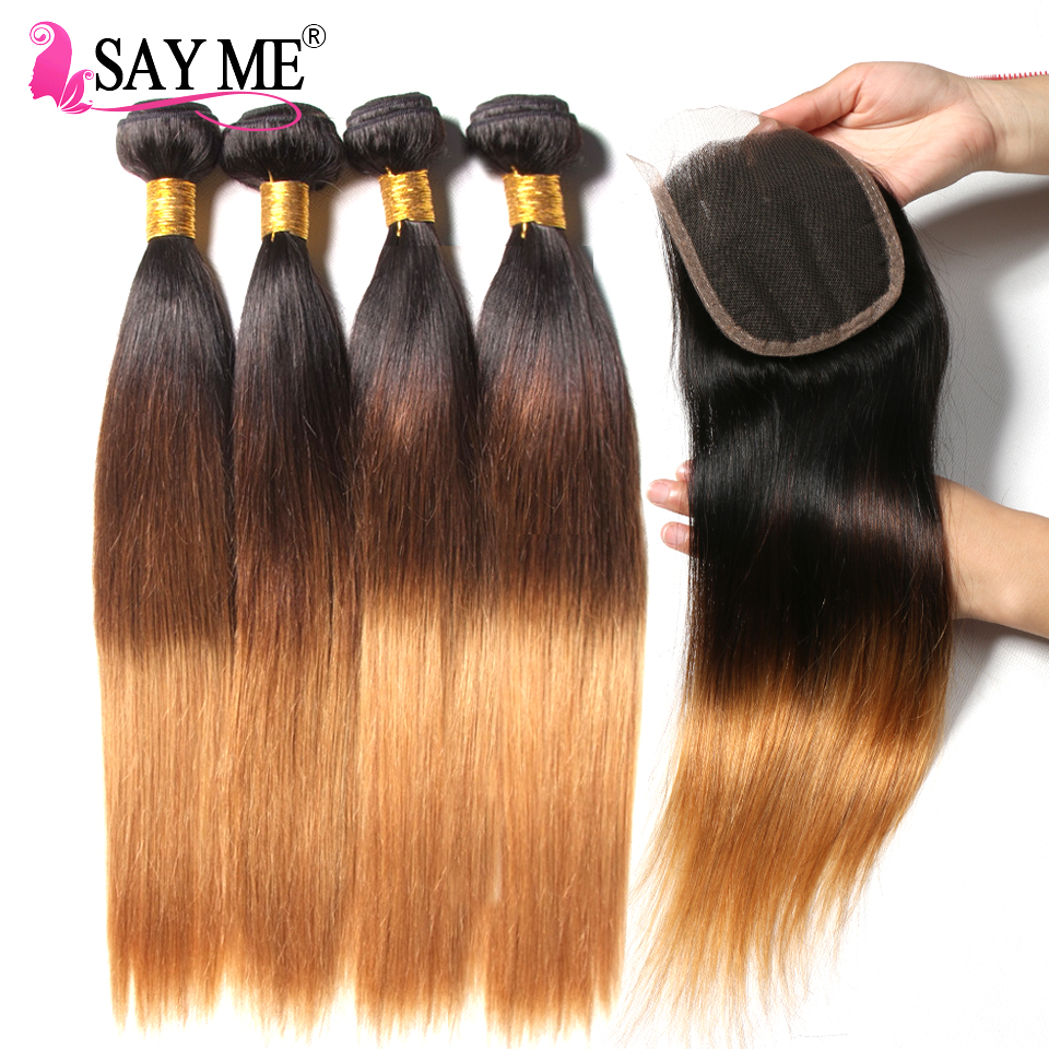4 Bundles Brazilian Straight Hair Bundles With Closure Ombre Bundles Human Hair Weave With Closure Non Remy 1b/4/27 30-in 3/4 Bundles with Closure from Hair Extensions & Wigs    1