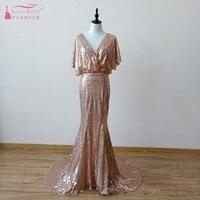 Golden Sequin Mermaid Bridesmaid Dresses robe demoiselle d'honneur Elegant vestido longo Wedding Guest Bridemaids Dress DQG658