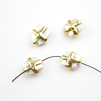 10pcs/lot Slabs White Pearl Shell Wire Golden Plated Hole Handmade Bracelet Finding,Wholesale Shell with Cross Copper Charms DIY