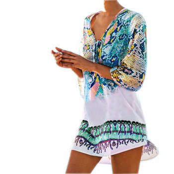 Caftan Swimsuit Cover-Up Print Tunic