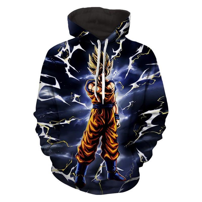 3D Sweatshirts 2018 Fashion Men Large Size Dragon Ball Z Goku Lightening Hooded Hoodies Casual O-neck Pullovers Sweats Tops