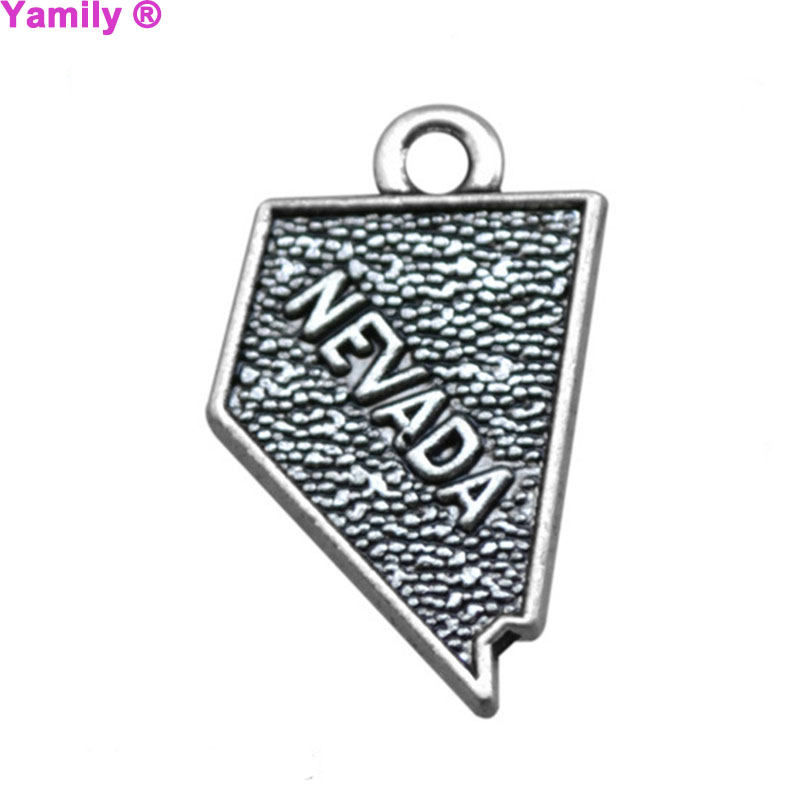 10pcs-- 20x12mm Antique tibetan silver tone NEVADA State map charm pendant for jewelry making
