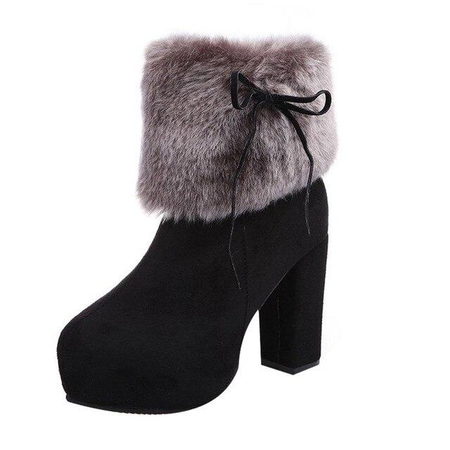 Kar botları kadın kış çizmeler Akın Fermuar Sıcak Yüksek Kare Kalin Martin Bootlar Yuvarlak Ayak Ayakkabı # g10