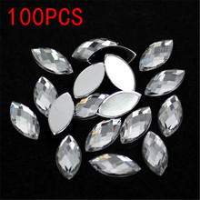 Hot Sale 100Pieces Flat Back Marquise Earth Facets Crystal Clear Acrylic Horse eye Shape Rhinestone Nail art Accessories