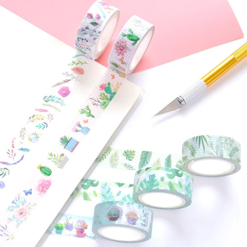 1.5 Cm Wide Green Fresh Plant Leaves Washi Tape Adhesive Tape DIY Scrapbooking Sticker Label Masking Tape