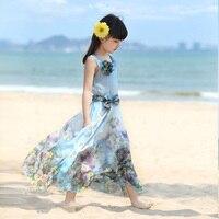 השמלה של הילדה בגדי ילדי מותג הוא החדש 2015 ילדים בגיל ההתבגרות שמלות פרחוניות הקיץ בוהמי חוף שיפון אופנה שמלת
