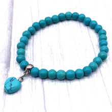 Heart Charm Bracelet 6 mm Nature Turquoises Stone Bead Women Small Beads Jewelry For Girl Gifts