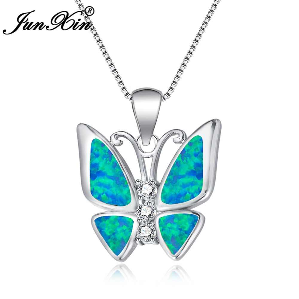 JUNXIN Blue/White Fire Opal Butterfly Pendant 925 Sterling Silver Filled Necklace For Women Cute Animal Jewelry Best Gift