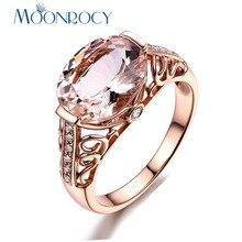 MOONROCY CZ шампанское кристалл кольцо розовое золото цвет свадебные кольца для женщин s ювелирные изделия для женщин девочек Прямая подарок