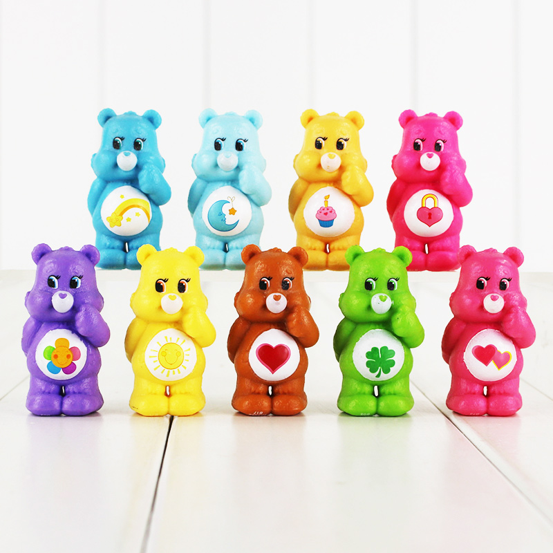 10pcs/lot Japanese Original Anime Figure Care Bears kids Toys For Boys And Girls