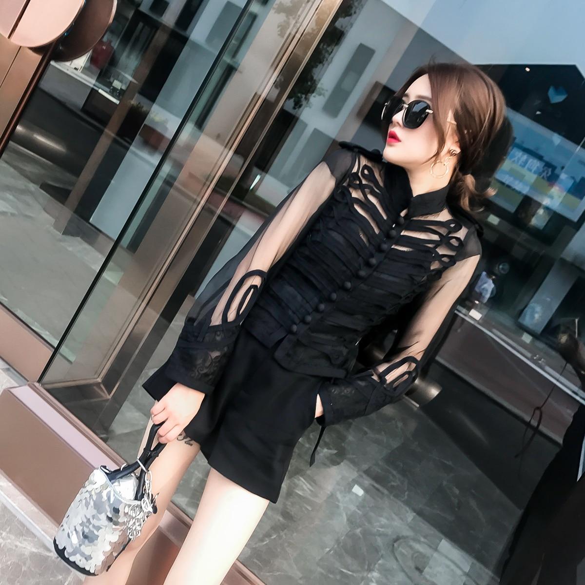 Manteau Yuxinfeng Femmes Bouton De Maille Noir Vestes Base Blanc blanc Manteaux Mode Femelle Noir Transparent Manches Printemps Veste D'été ZukXTOiP