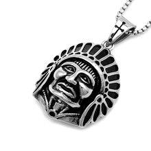 Bankett männer Edelstahl Schwarz-Silber Farbe Gothic Vintage Tribal Indian Chef Kopf Anhänger Halskette, halskjede P078