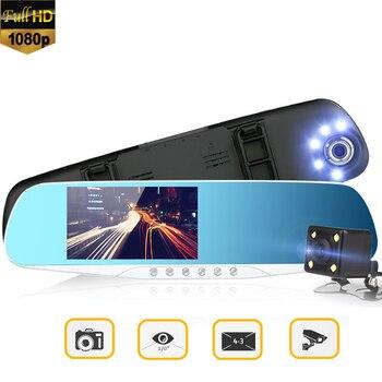 "4.3"" Car DVR Dual Lens Full HD 1080p Night Vision Wide Angle Camera Rearview Mirror Camera Recorder Registrator Dash Cam"
