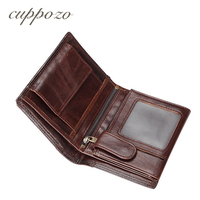Cuppozo New Vintage Wallet Soft Real Genuine Leather Male Money Purses Zipper Coins Wallets With Fashion ID Card Holder