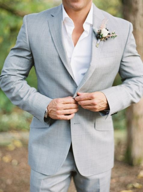 Latest Coat Pant Design Light Gray Custom Made Men\'s Wedding Suit ...