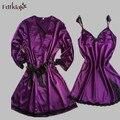 De alta Calidad de Las Mujeres ropa de Dormir Conjunto Sexy Túnicas De Seda Del Otoño Del Resorte 2 Unidades Albornoces Robe Set Vestido Corto Batas Para mujeres