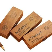 42pcs/pack stamps Alphanumeric rubber stamp set Handwriting Alphabet Letter Wooden Stamp Set Retro Vintage Wooden Craft Box