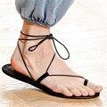 Estilo Simple Mujer Atan Las Sandalias de Correa de Tobillo Ocasional Zapatos Planos Chanclas de Verano Zapatos Sandalias de Playa Mujer Pisos