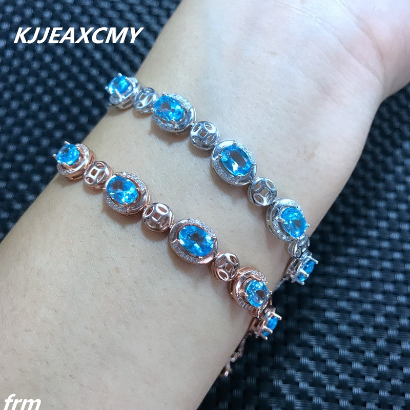 KJJEAXCMY Fine jewelry Natural Topaz Bracelet wholesale shinv Aquamarine sapphire comparable exquisite low price