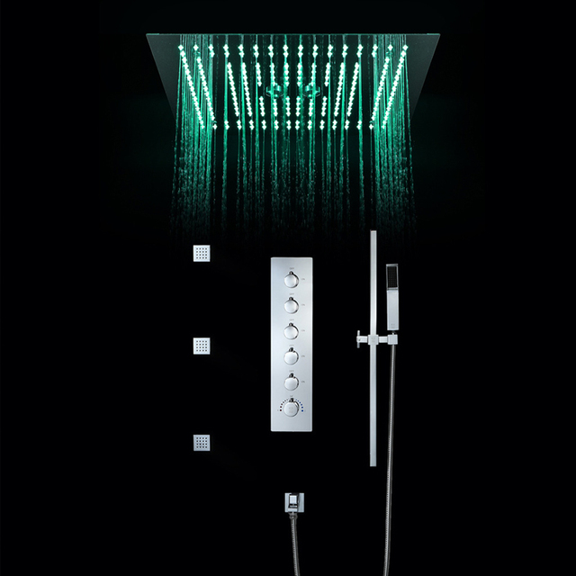 Bathroom Shower Faucets Accessories 16 Inch Shower Head Ceiling Rainfall Shower, Misty, Small Rain Shower Panel Thermostatic
