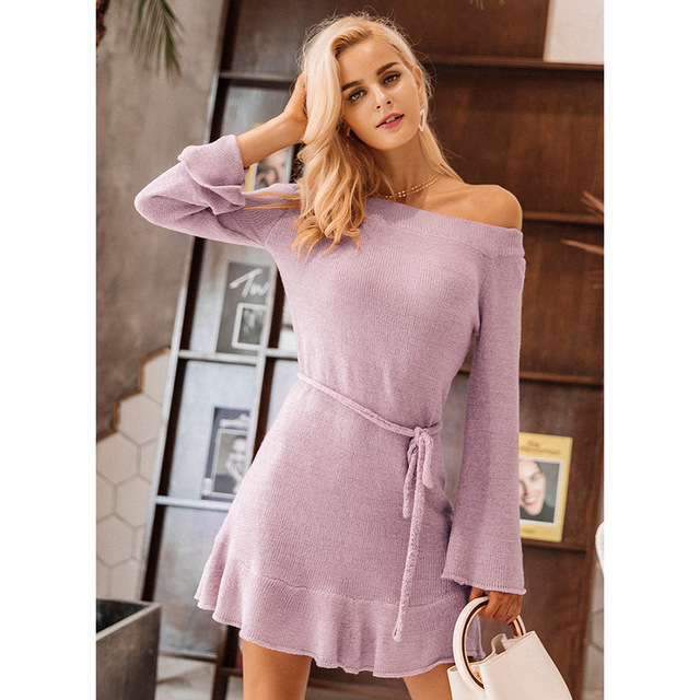 2019 Nov. 11 New Arrival Slash Neck Knitted Sweater Style Dress With Sash Flare Sleeve Ruffles Womens Casual Wear Free Shipping