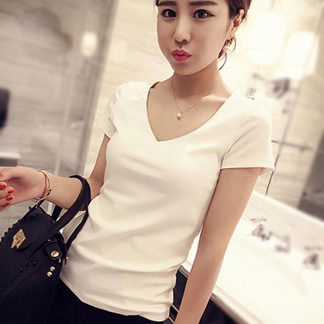 Venda Quente Coreano Roupas das mulheres T-shirt de Algodão Branco Cinza Magro Manga curta Moda Verão Encabeça Bonito Sólidos Blusas Além de Femme tamanho