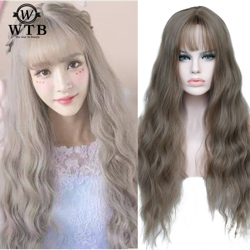 WTB Ombre Party For Black Women Long Curly Cosplay Wig Heat Resistant Fiber Natural Synthetic Hair Full Head Wigs  Women