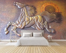 Beibehang wallpaper photo creative 3D three-dimensional gold embossed running horse TV background wall decoration 3d