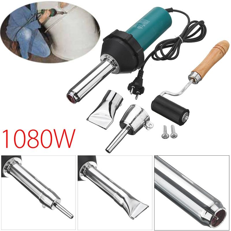 1080W 220V 50Hz Plastic Hot Air Welding Gun Pressure Roller Heat Gun Kit With Pencil Tip