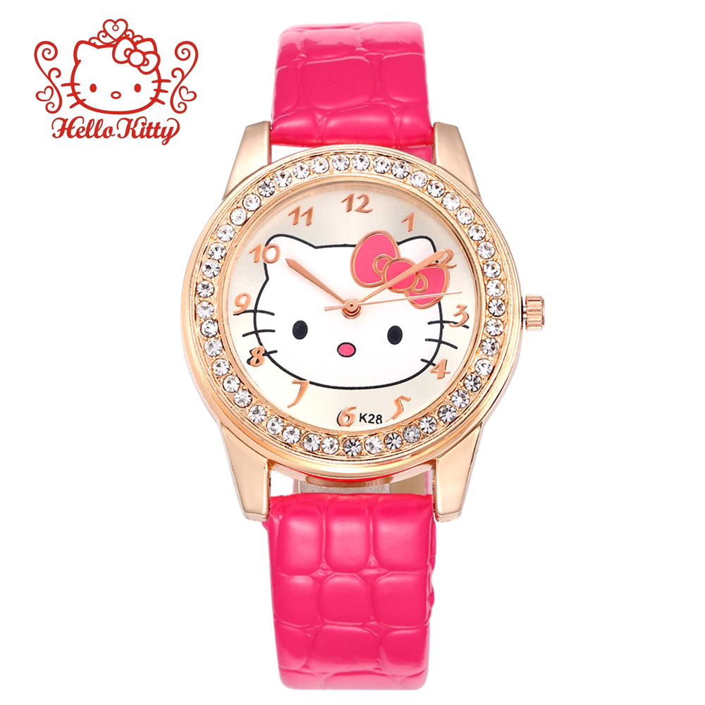 Cat Quartz Rhinestone Watches Women Luxury Baby Clock Lady Girl Pink Leather Strap Net Band Cute Wristwatch Crystal Hour Ceasuri