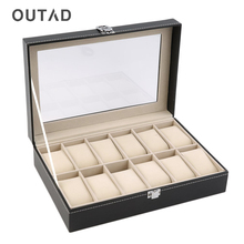 OUTAD 12 Slots Leather Jewelry Holder Tray Watch Box Custom Organizer Storage Display Stand Rack Case Gift Pillow Casket New