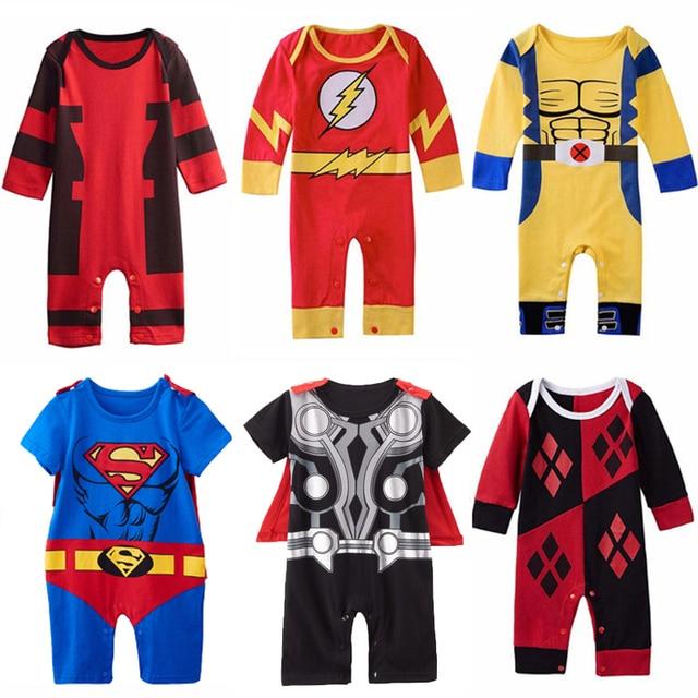7212240e6af4 Baby Boys Superhero Costume Romper Infant Cute Outfit Thor Pikachu Wolverine  Harley Quinn Batman Newborn Jumpsuit Cosplay
