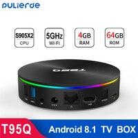 T95Q 4GB 64GB GB Amlogic Android 8.1 CAIXA de TV 4GB 32 S905X2 4K H2.65 1000M 2.4 GHz/5 GHz WI-FI Inteligente Set-top box Media Player BT4.0