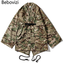 Bebovizi Japan Style Sand Camo Kimono Jackets Mens Hip Hop Black Casual Coats Streetwear Camouflage Loose Robe Jacket