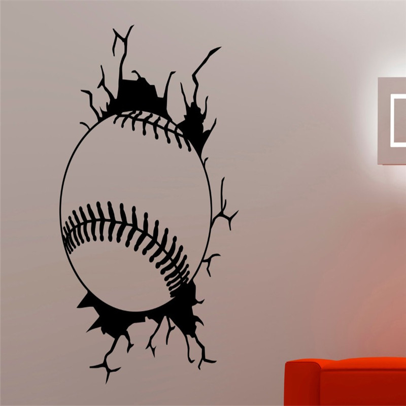 <font><b>Baseball</b></font> Creative Wall Decals Sticker Vinyl Sport Series Wall Mural For Home Boys Nursery Bedroom Cool Decor Art Wallpaper