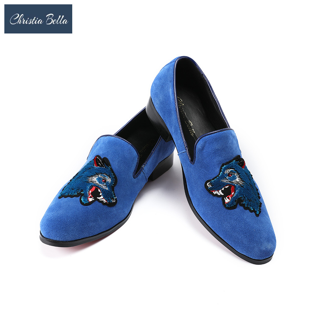Christia Bella Men loafers Embroidery Wolf Slippers Smoking Slip-on Shoes Luxury Party Wedding Black Velvet Dress Shoes Men цена 2017