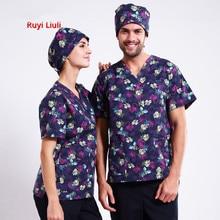 RYLL-напечатанная медицинская одежда футболки и штаны униформа медсестры стиль в скрабах набор хирургический костюм клиникос форма медсестры