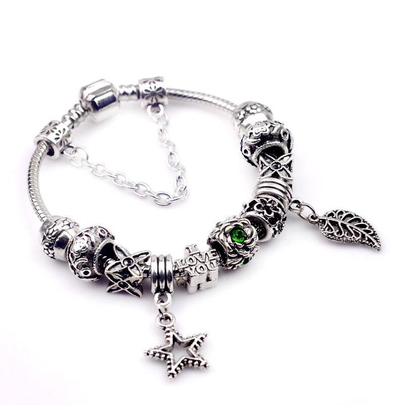 Luxury Silver Crystal Leaf&Star Charm pandora Bracelet for Women Romantic DIY Beads Bracelets & Bangles Vintage Jewelry