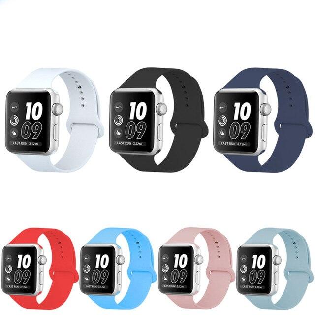 Relógio Faixa de Relógio de Silicone macio para A Apple 38mm 42mm Substituição Pulseira de Pulso Bandas Watchband para iWatch Série Cinta 1 2
