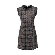 Luxury Brand Women's Tweed Sleeveless Plaid Dress 2018 Winter or Spring Elegant Round Neck Slim A-Line Based Dress