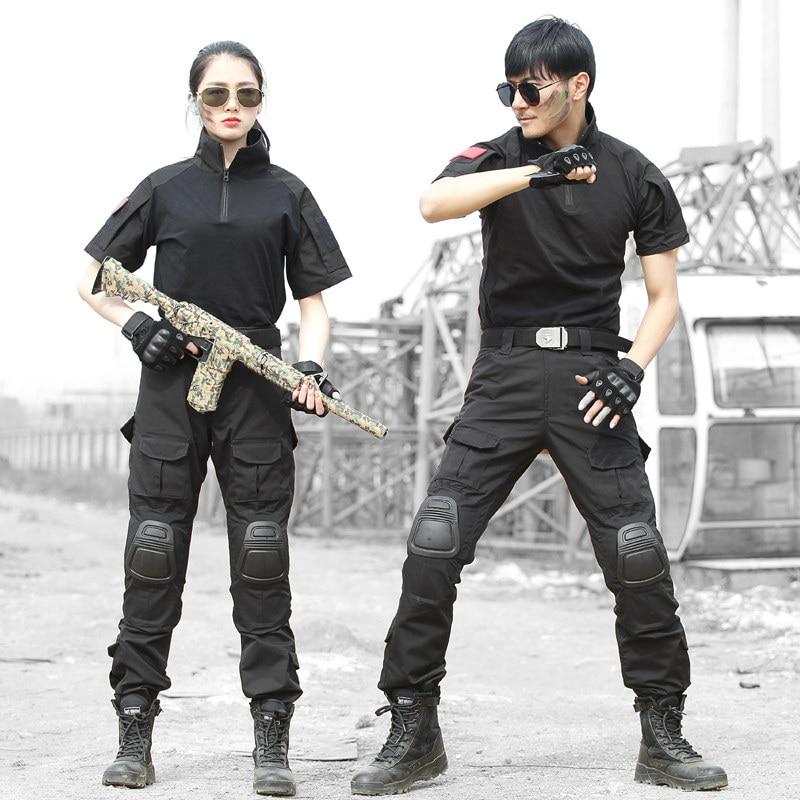 Noir à manches courtes chemise été respirant pantalon avec genouillères costume de chasse armée tactique formation costume militaire Combat uniforme - 3