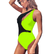 Neon Green Swimsuit 2019 Off Shoulder Swimwear Cut Out One Piece Swimsuit Push Up Girls Monokini Women Bathing Suit Biquini S-L sexy one piece swimsuit swimming suit for women high cut swimwear push up shoulder off brazilian monokini biquini bathing suits