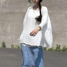 8096f199f7 Oryginalny Wiosna Lato Bawełniana Pościel Kobiety pullover Kobiet O-neck  Białe Krótkie Bluzka Artystyczne Luźny Top koszule Blus.