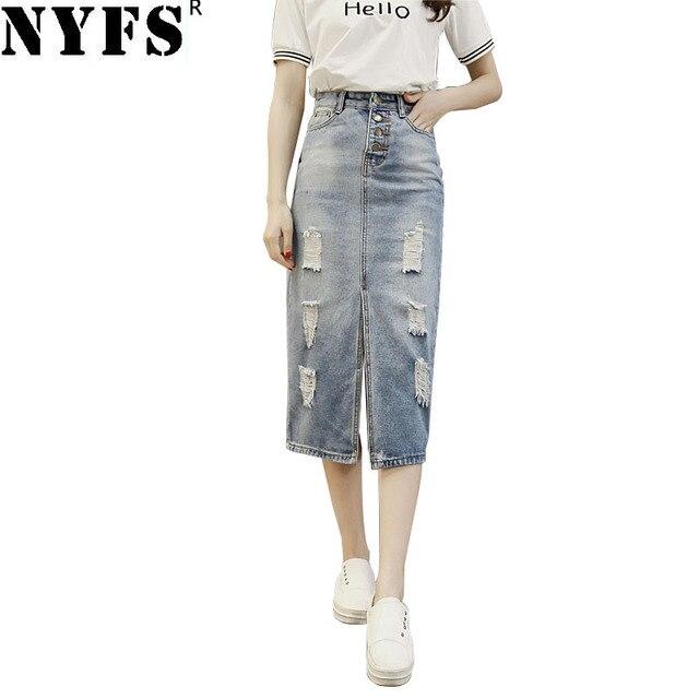 0ba5639df93d4e NYFS 2019 Nieuwe Lente Zomer Herfst mode vrouwen lange denim rok Vintage  maxi rokken gat jeans