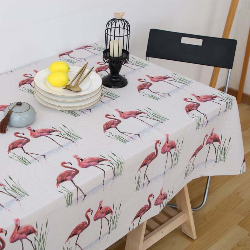 Nordic Red Flamingo Tablecloth Tropical Palm Animal White Linen Table Cloth Manteles Festival Decor Oilproof Picnic Mat